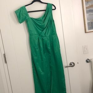 Green one shoulder satin like dress